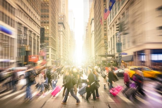 Blurred city scene